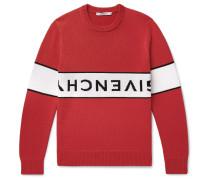 Logo-intarsia Cotton Sweater - Red
