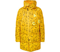 Acg Oversized Quilted Printed Ripstop Hooded Down Parka - Yellow