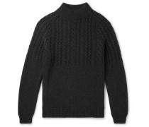 Cable-Knit Wool and Cashmere-Blend Mock-Neck Sweater
