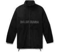 Oversized Logo-Embroidered Virgin Wool-Fleece Zip-Up Sweatshirt