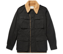Faux Shearling-lined Logo-printed Cotton-canvas Jacket