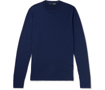 Wool, Silk And Cashmere-blend Sweater - Navy