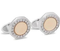 Duke 18-Karat White and Yellow Gold Diamond Cufflinks