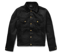 Corduroy-trimmed Faux Shearling-lined Denim Jacket