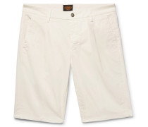 Pleated Stretch-cotton Twill Shorts