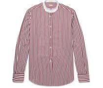 Kos Grandad-collar Striped Cotton-jacquard Half-placket Shirt