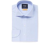 Light-blue Cutaway-collar Striped Cotton Shirt - Light blue