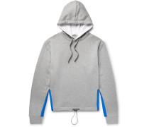 Satin-trimmed Mélange Loopback Cotton-blend Jersey Hoodie