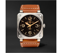 BR 03-92 Golden Heritage 42mm Steel and Leather Watch, Ref. No. BR0392‐ST‐G-HE/SCA