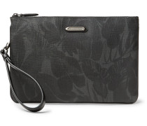 Leather-trimmed Printed Coated-canvas Pouch