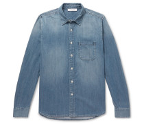 Cotton-blend Chambray Shirt - Blue