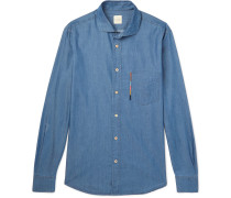 Soho Cutaway-collar Embroidered Cotton And Tencel-blend Chambray Shirt