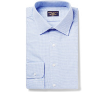Slim-fit Puppytooth Brushed-cotton Shirt - Blue