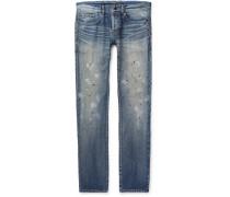 Slim-fit 17cm Paint-splattered Denim Jeans