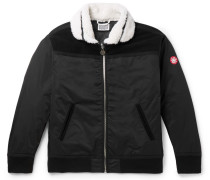 Shearling And Suede-trimmed Shell Bomber Jacket