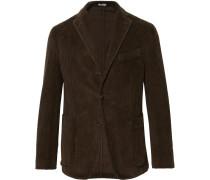 Dark-green Slim-fit K-jacket Cotton-corduroy Blazer - Dark green