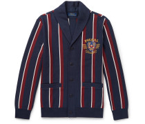 Shawl-collar Embroidered Striped Cotton-blend Jersey Cardigan - Navy