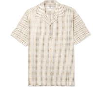 Dusty Camp-collar Striped Cotton Shirt