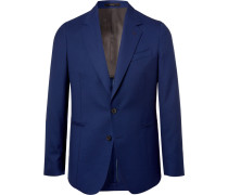 Storm-blue Soho Slim-fit Wool-hopsack Blazer - Blue
