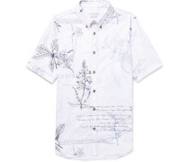 Slim-fit Button-down Collar Embroidered Printed Cotton-poplin Shirt