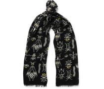 Printed Silk And Wool-blend Scarf - Black