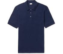 Waffle-knit Cotton Polo Shirt - Navy