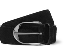 3.5cm Black Suede Belt - Black