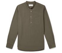 Grandad-Collar Washed Cotton-Poplin Half-Placket Shirt