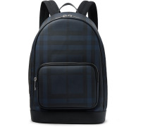 Leather-trimmed Coated-canvas Backpack - Navy