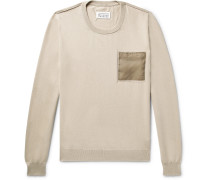 Shell-trimmed Cotton Sweater - Beige