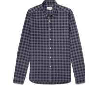 New York Special Checked Cotton-flannel Shirt - Navy