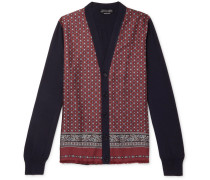 Panelled Wool-blend And Printed Silk-twill Cardigan - Red