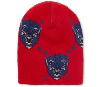 Oversized Intarsia Wool Beanie - Red