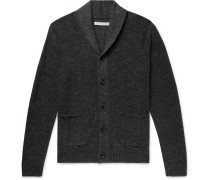 Shawl-collar Mélange Organic Cotton And Wool-blend Cardigan - Charcoal