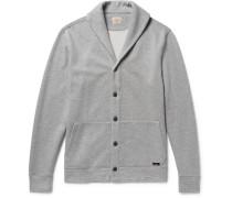 Shawl-collar Mélange Fleece-back Cotton-blend Cardigan