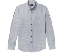 Button-down Collar Puppytooth Cotton-flannel Shirt - Charcoal