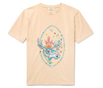 Bemabe Rave Moose Embroidered Cotton-jersey T-shirt