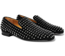 Rollerboy Spikes Grosgrain-Trimmed Suede Loafers