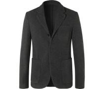 Grey Unstructured Mélange Virgin Wool Blazer