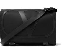 Valentino Garavani Logo-Detailed Leather-Trimmed Nylon Messenger Bag