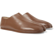 Tabi Collapsible-heel Split-toe Leather Loafers - Brown