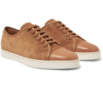 Levah Cap-toe Leather And Suede Sneakers - Light brown