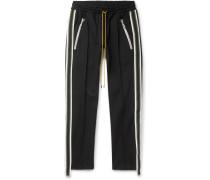 Black Cropped Slim-Fit Tapered Webbing-Trimmed Jersey Track Pants