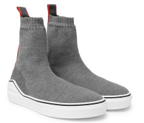 Grosgrain-trimmed Stretch-knit High-top Sneakers