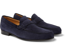 Suede Penny Loafers - Navy