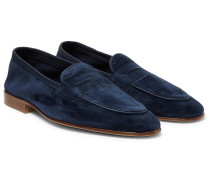 Polperro Leather-trimmed Suede Penny Loafers - Midnight blue