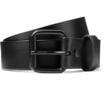 3.5cm Rockaway Black Leather Belt