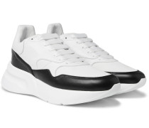 Exaggerated-sole Leather And Mesh Sneakers