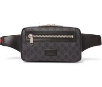 Leather-Trimmed Monogrammed Coated-Canvas Belt Bag