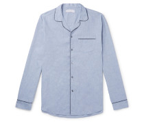 Piped Cotton and Linen-Blend Pyjama Shirt